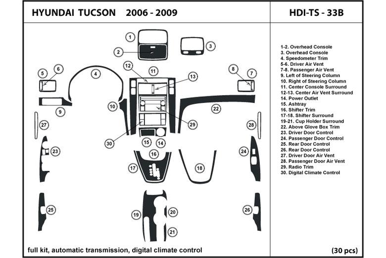 dl auto hyundai tucson 2006 2009 dash kits. Black Bedroom Furniture Sets. Home Design Ideas
