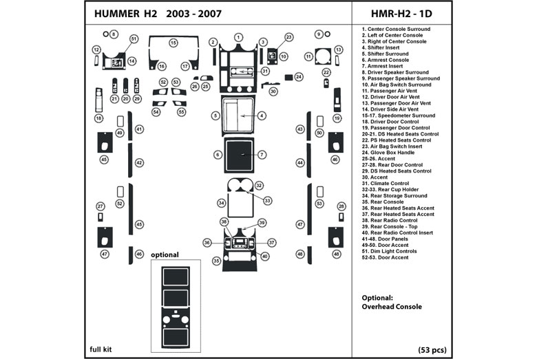 dl auto® hummer h2 2003-2007 dash kits 2003 hummer h2 stereo wiring diagram hummer h2 headlight wiring diagram #5