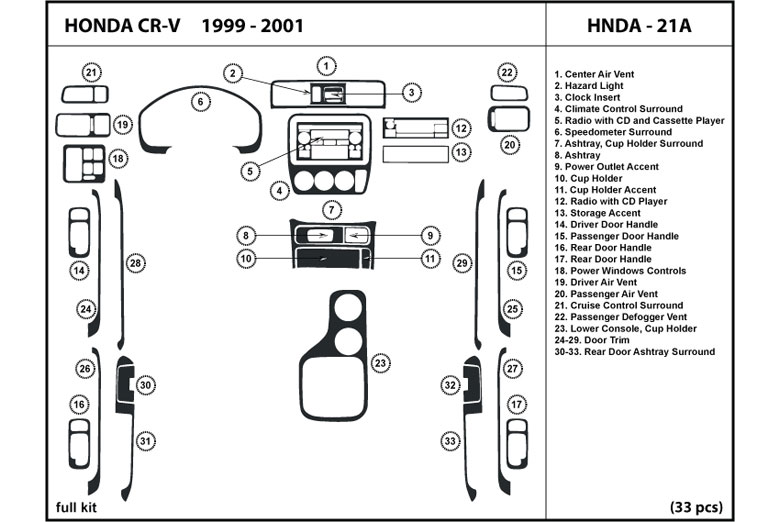 2000 Honda CR-V DL Auto Dash Kit Diagram