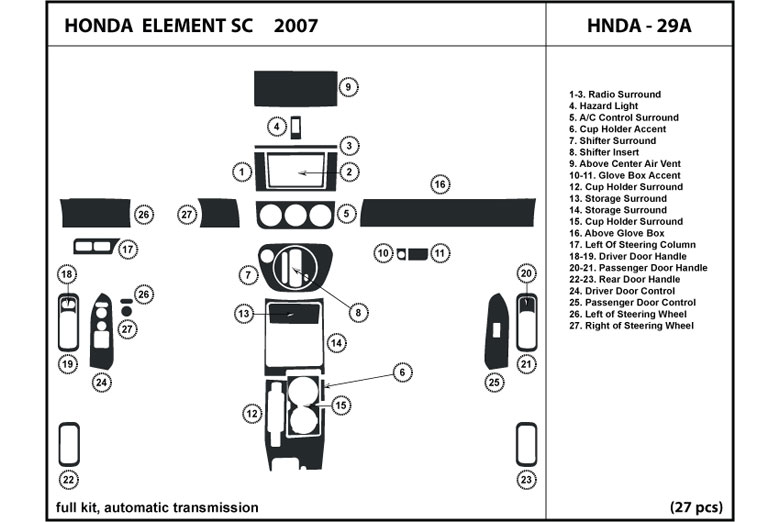 2007 honda element dash kits