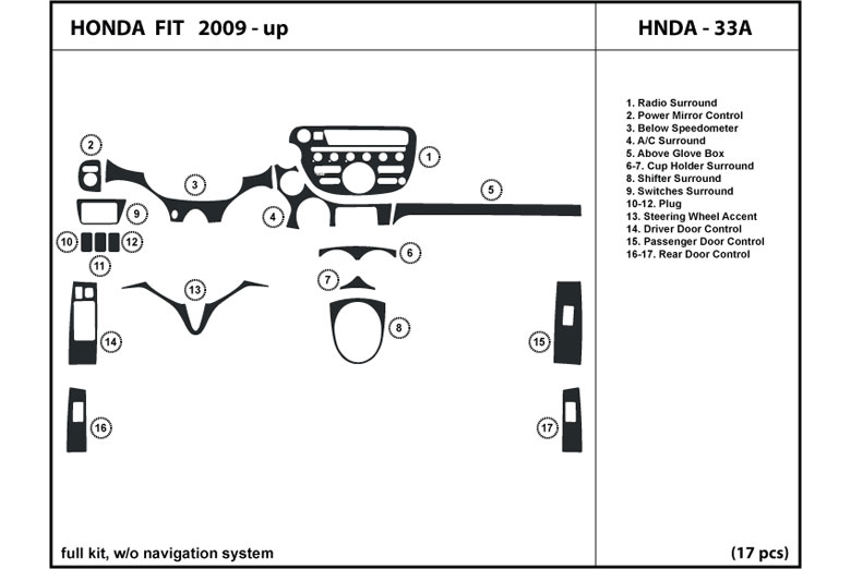 2010 Honda Fit DL Auto Dash Kit Diagram