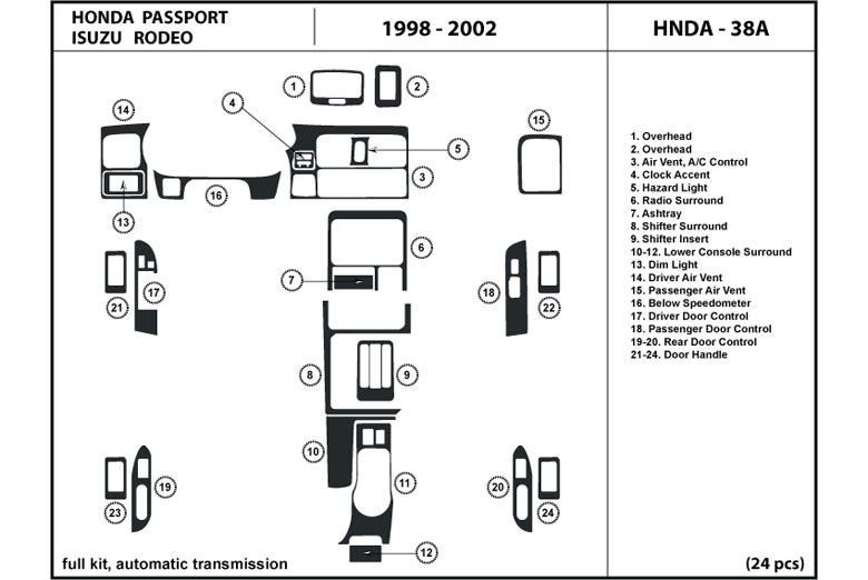 1998 Isuzu Rodeo DL Auto Dash Kit Diagram