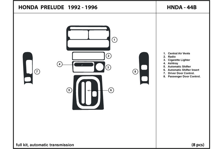 1993 Honda Prelude DL Auto Dash Kit Diagram