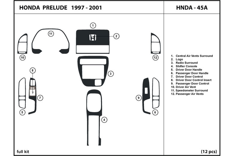 2001 Honda Prelude DL Auto Dash Kit Diagram