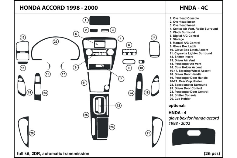 1998 Honda Accord DL Auto Dash Kit Diagram