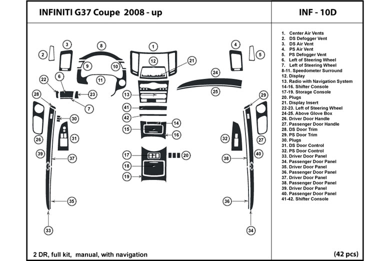 2008 Infiniti G37 DL Auto Dash Kit Diagram