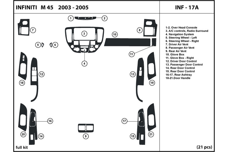 2004 Infiniti M45 DL Auto Dash Kit Diagram