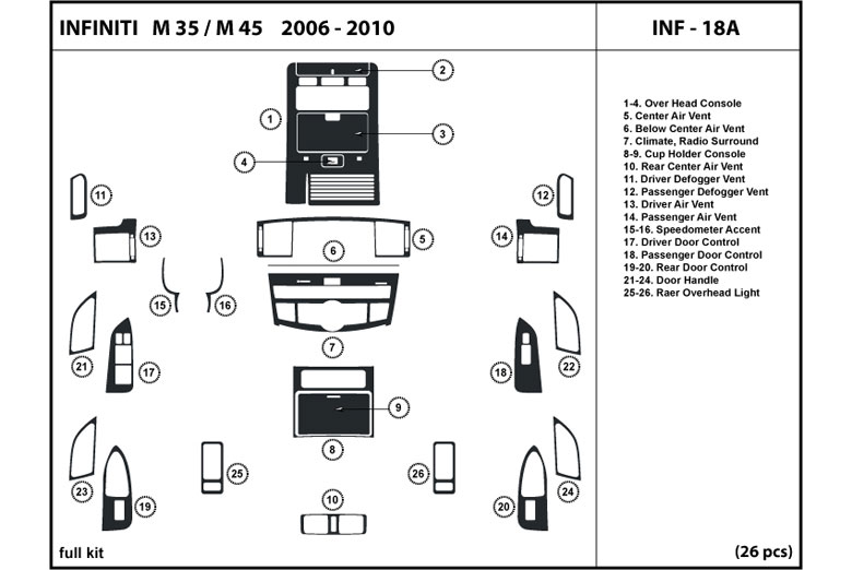 2006 Infiniti M35 DL Auto Dash Kit Diagram