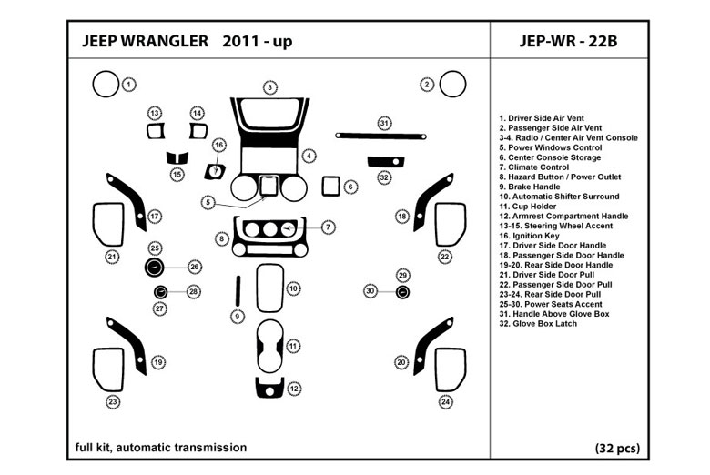 2011 Jeep Wrangler DL Auto Dash Kit Diagram