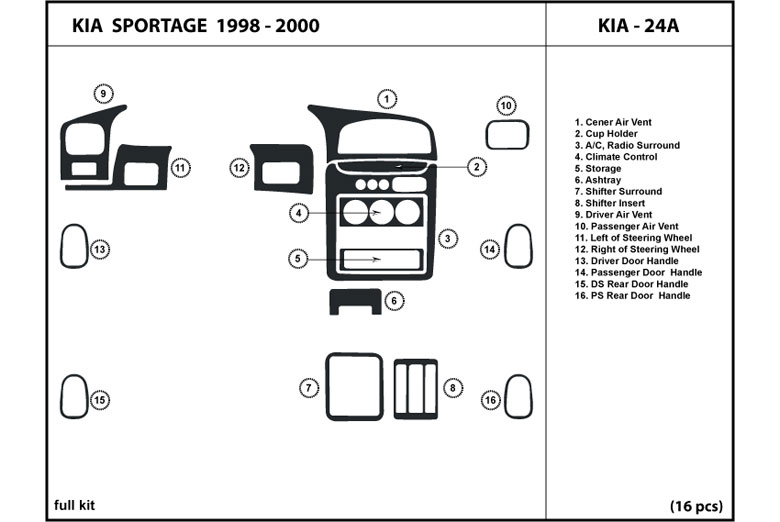 1998 Kia Sportage DL Auto Dash Kit Diagram