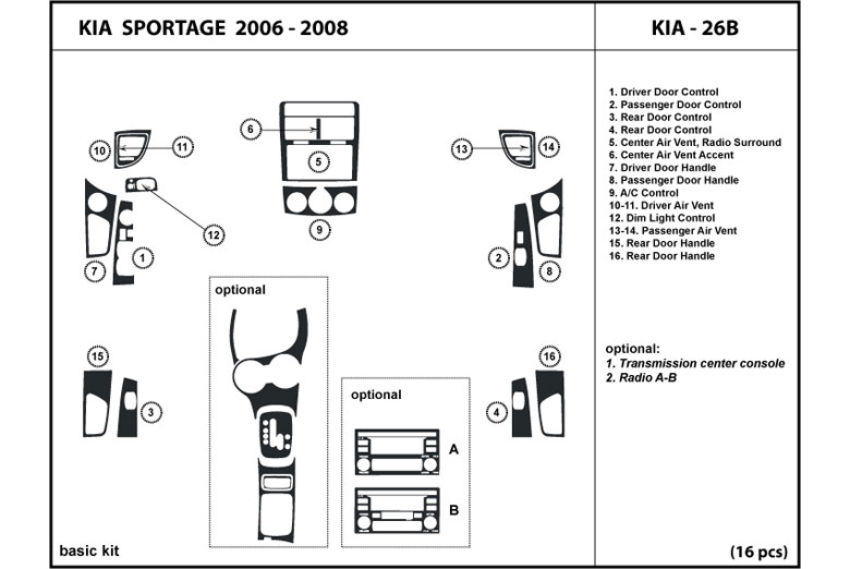 2006 Kia Sportage DL Auto Dash Kit Diagram