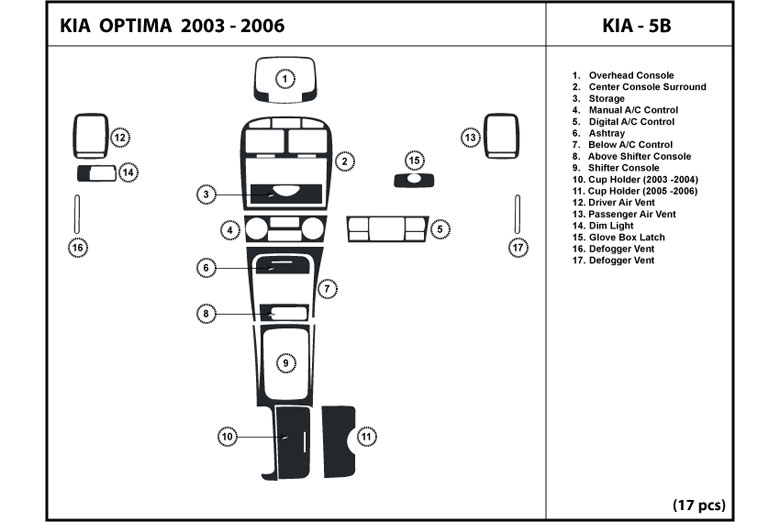 2003 Kia Optima DL Auto Dash Kit Diagram