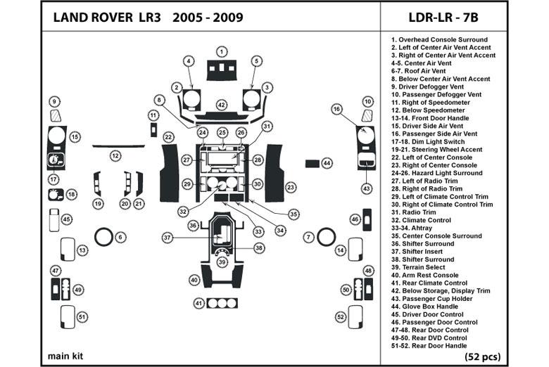 dl auto® land rover lr3 2005-2009 dash kits 2005 lr3 land rover wiring diagram #4