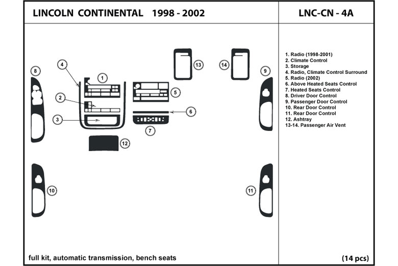 2001 Lincoln Continental DL Auto Dash Kit Diagram