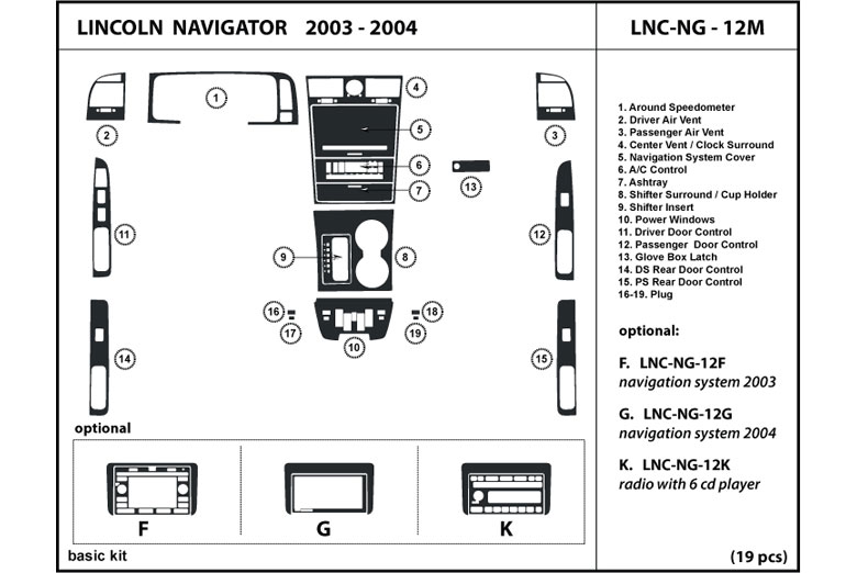 2003 Lincoln Navigator DL Auto Dash Kit Diagram