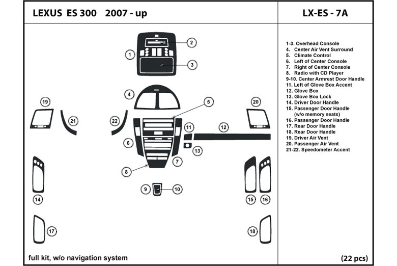 2008 Lexus ES DL Auto Dash Kit Diagram