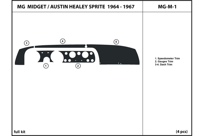 1965 MG Midget DL Auto Dash Kit Diagram
