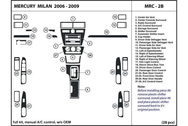 dl auto 174 mercury milan 2006 2007 dash kits