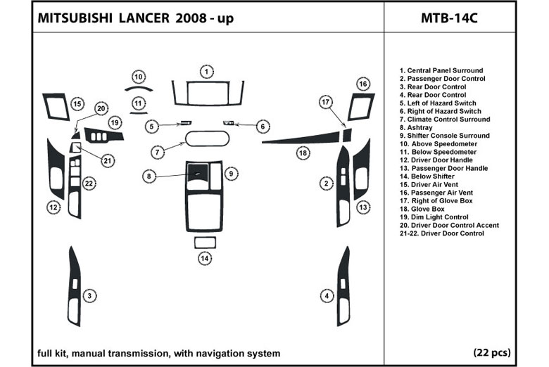 2008 Mitsubishi Lancer DL Auto Dash Kit Diagram