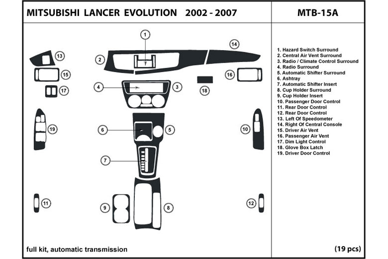 2003 Mitsubishi Lancer DL Auto Dash Kit Diagram