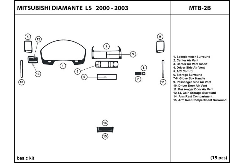 2000 Mitsubishi Diamante DL Auto Dash Kit Diagram