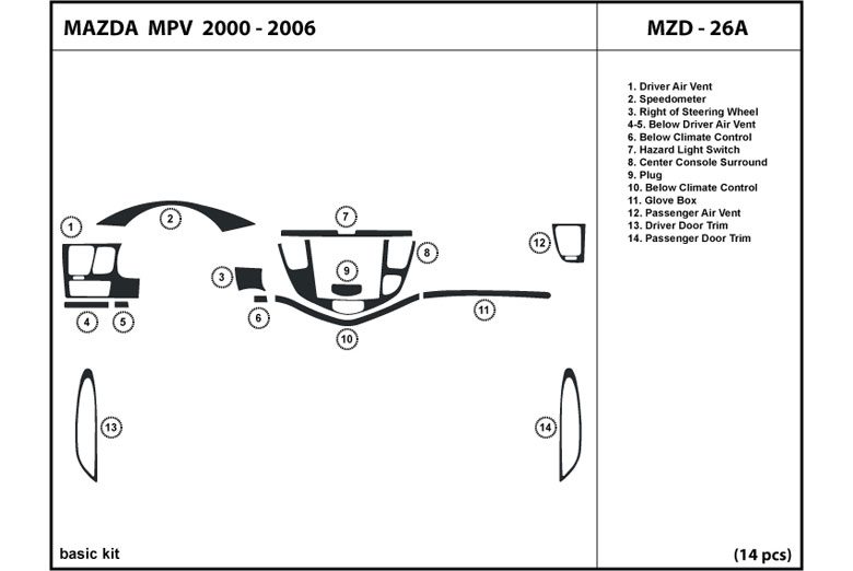 2003 Mazda MPV DL Auto Dash Kit Diagram