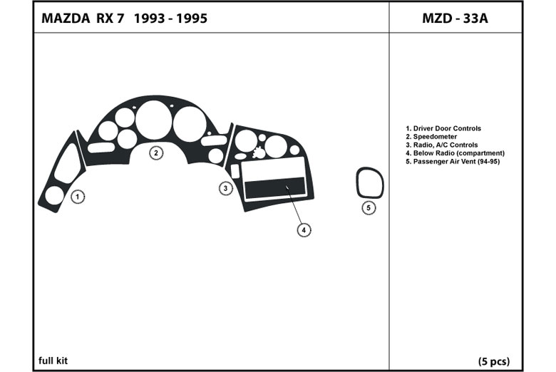 1995 Mazda RX-7 DL Auto Dash Kit Diagram