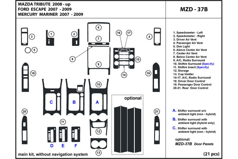 2009 Mazda Tribute DL Auto Dash Kit Diagram
