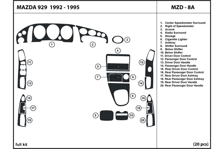 1995 Mazda 929 DL Auto Dash Kit Diagram
