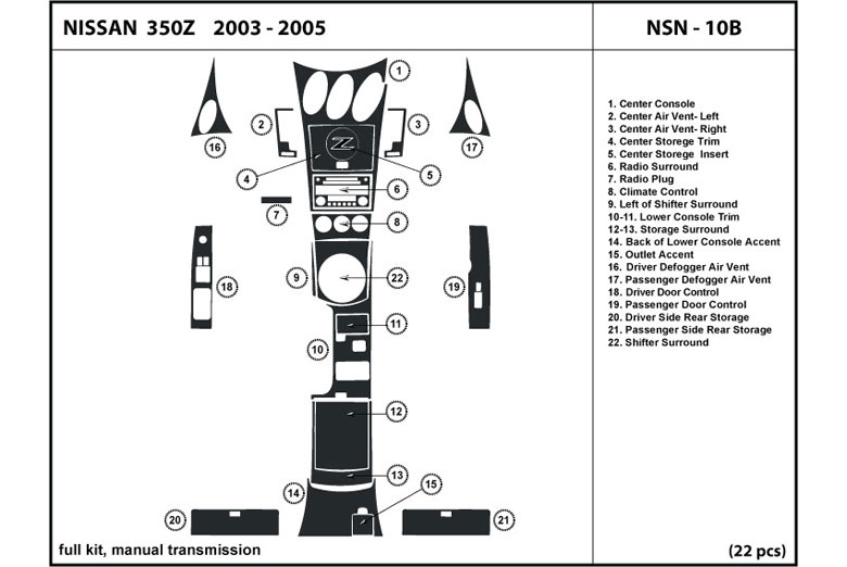 2007 Nissan 350Z DL Auto Dash Kit Diagram