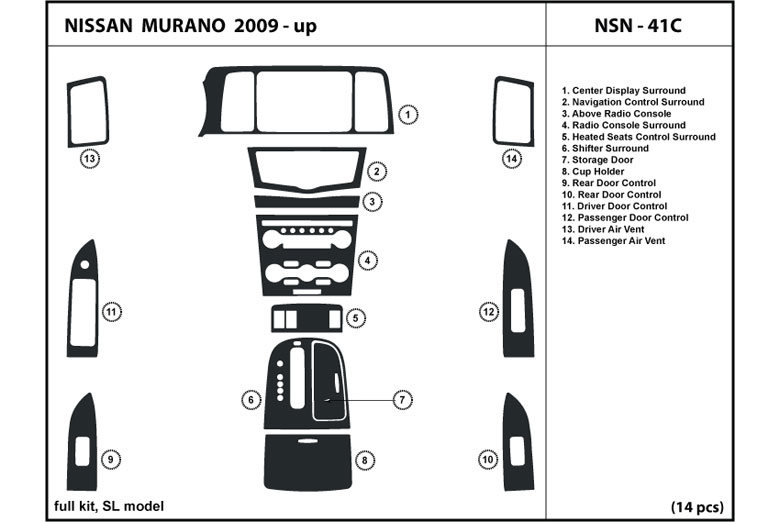 2011 Nissan Murano DL Auto Dash Kit Diagram