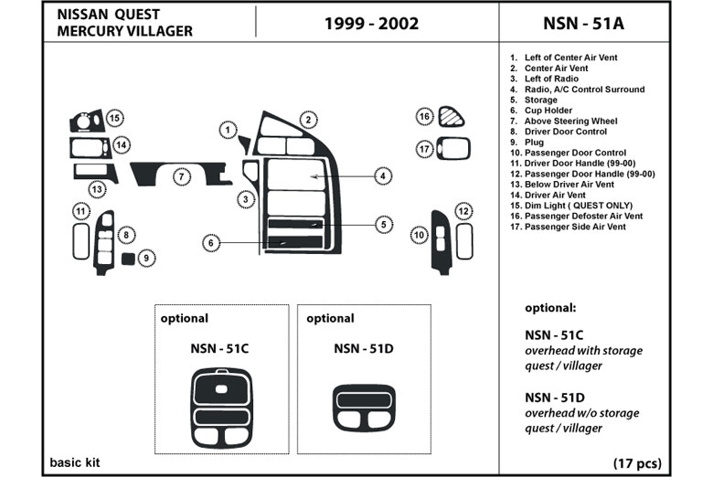 2001 Mercury Villager DL Auto Dash Kit Diagram