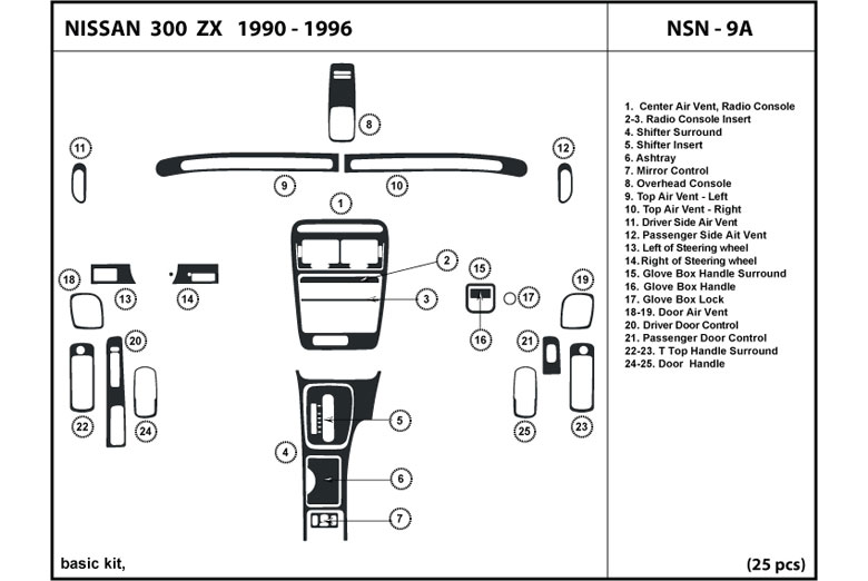 1995 Nissan 300ZX DL Auto Dash Kit Diagram