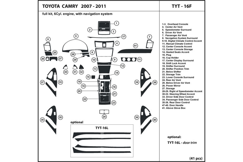 2008 toyota camry dash kits wood trim. Black Bedroom Furniture Sets. Home Design Ideas