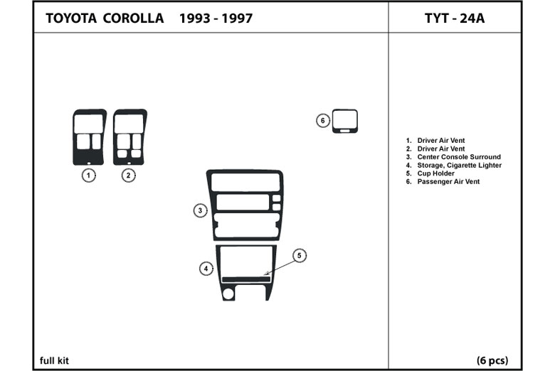 1994 Toyota Corolla DL Auto Dash Kit Diagram