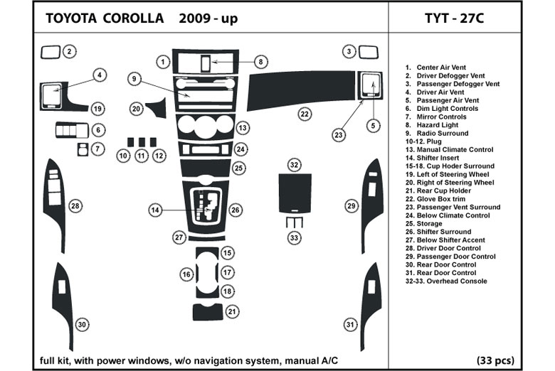 2010 toyota corolla dash kits