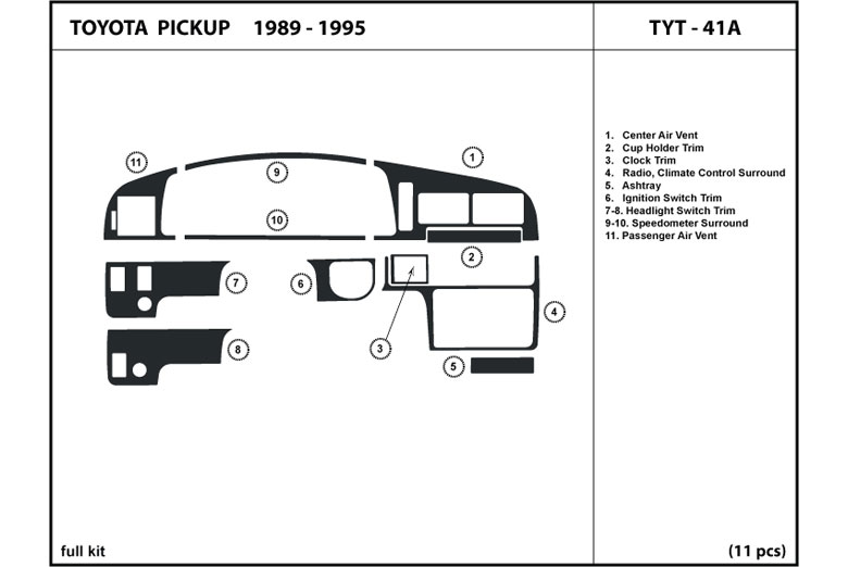 1989 Toyota Pick Up DL Auto Dash Kit Diagram