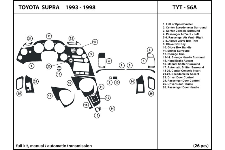 1998 Toyota Supra DL Auto Dash Kit Diagram
