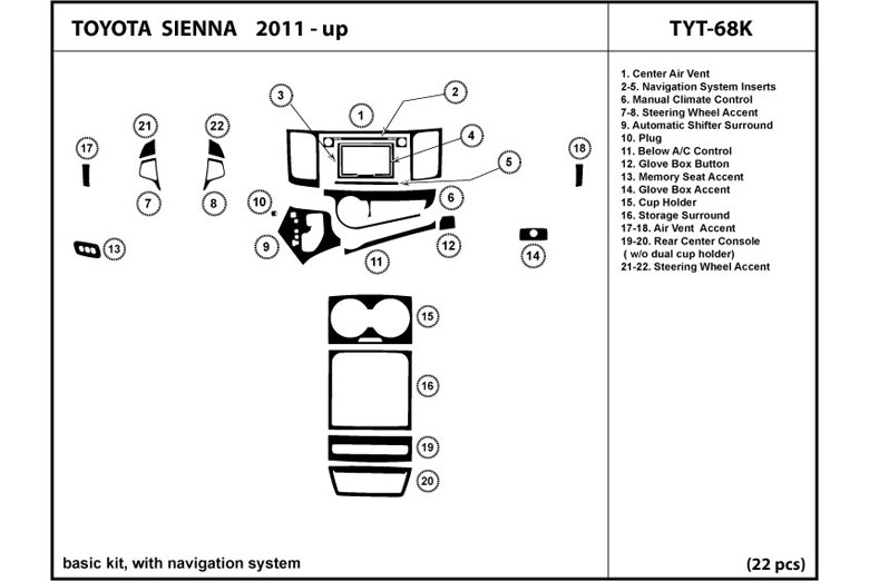 2011 Toyota Sienna DL Auto Dash Kit Diagram