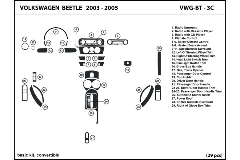 dl auto volkswagen beetle 2001 2005 dash kits. Black Bedroom Furniture Sets. Home Design Ideas