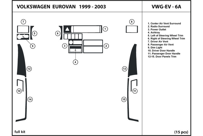 2000 Volkswagen EuroVan DL Auto Dash Kit Diagram
