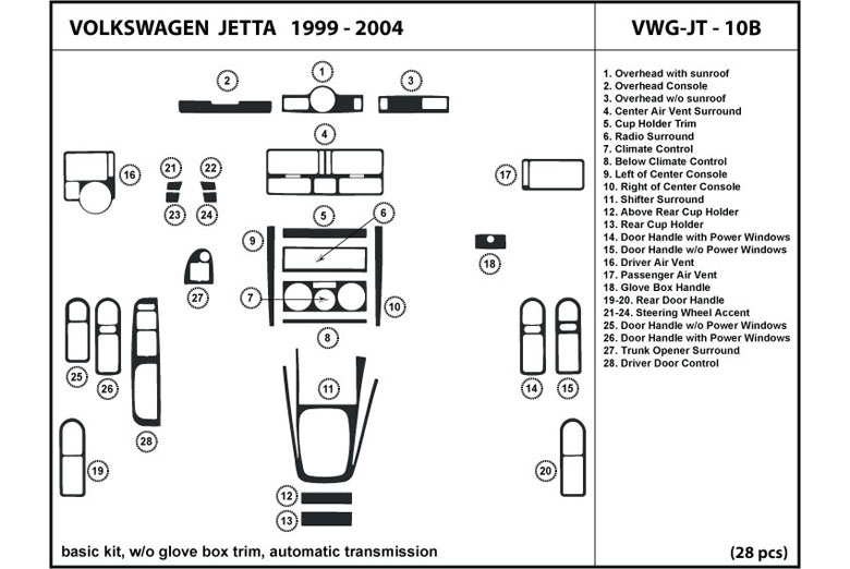 2001 Volkswagen Jetta DL Auto Dash Kit Diagram