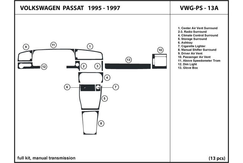 1996 Volkswagen Passat DL Auto Dash Kit Diagram