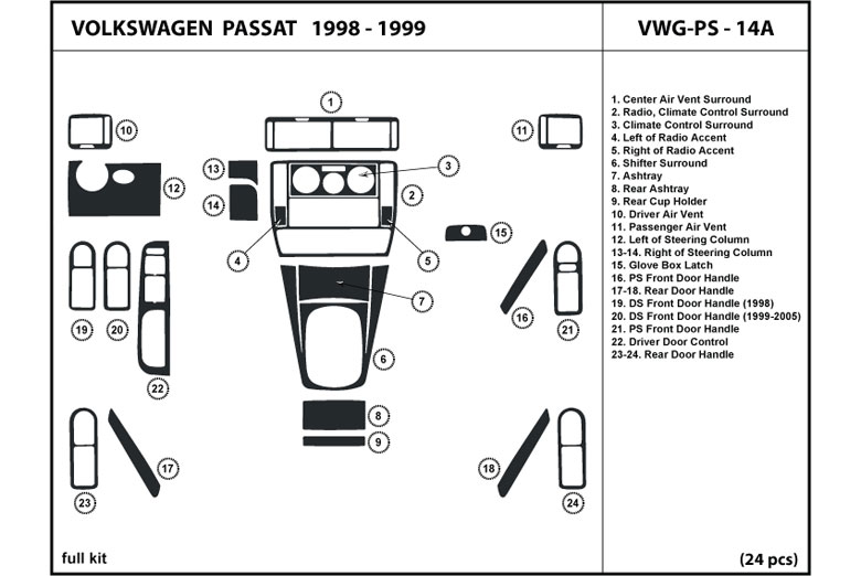 1999 Volkswagen Passat DL Auto Dash Kit Diagram
