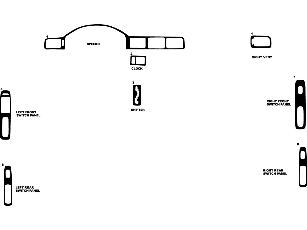 Acura TL 1996-1998 Dash Kit Diagram