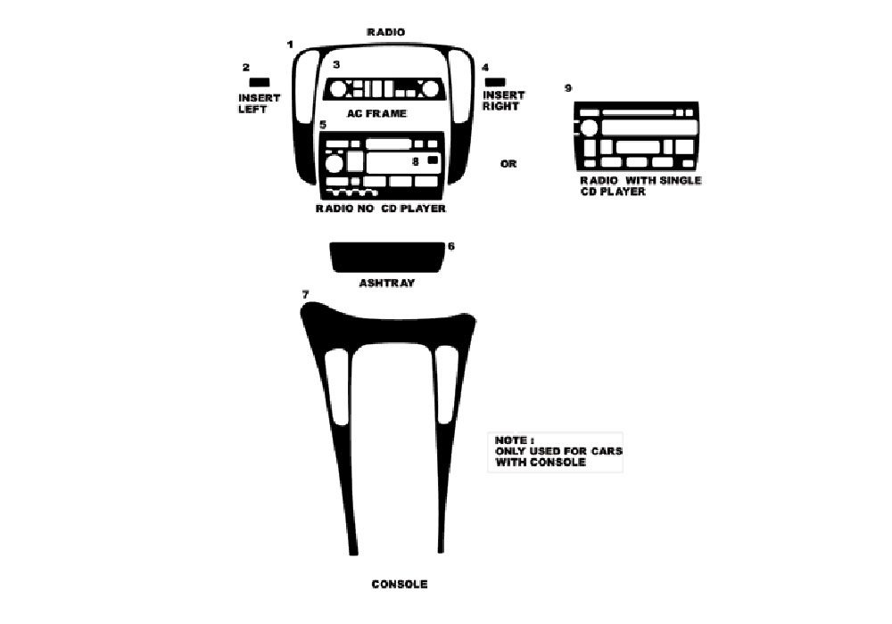 Cadillac Catera 1997-1999 Dash Kit Diagram