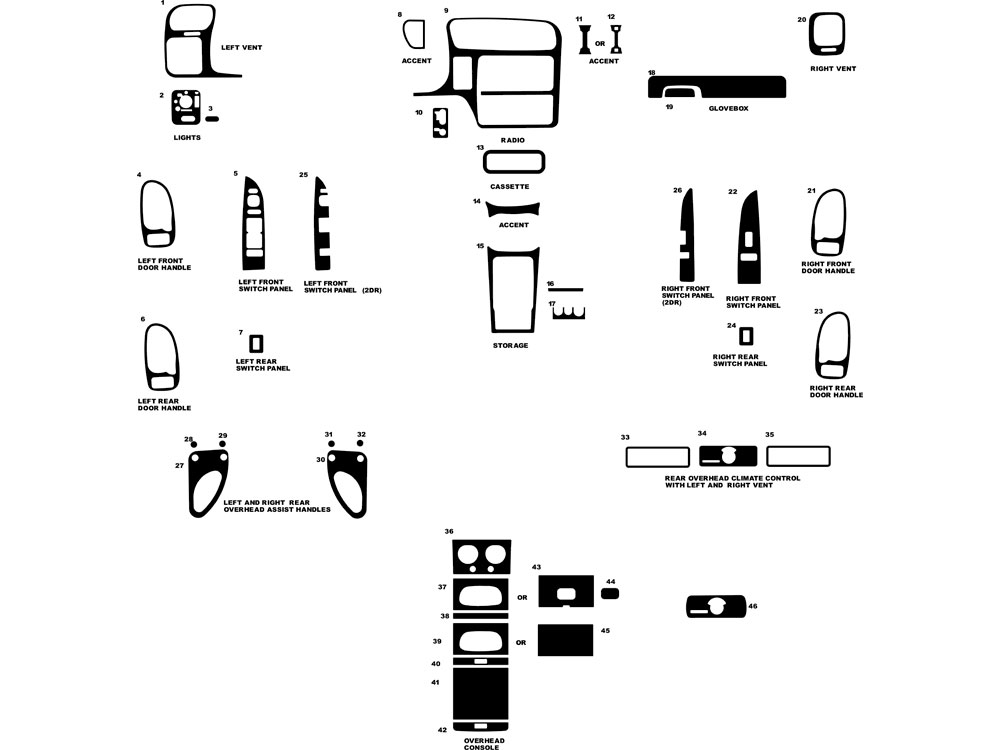 GMC Sonoma 1998-2003 Dash Kit Diagram