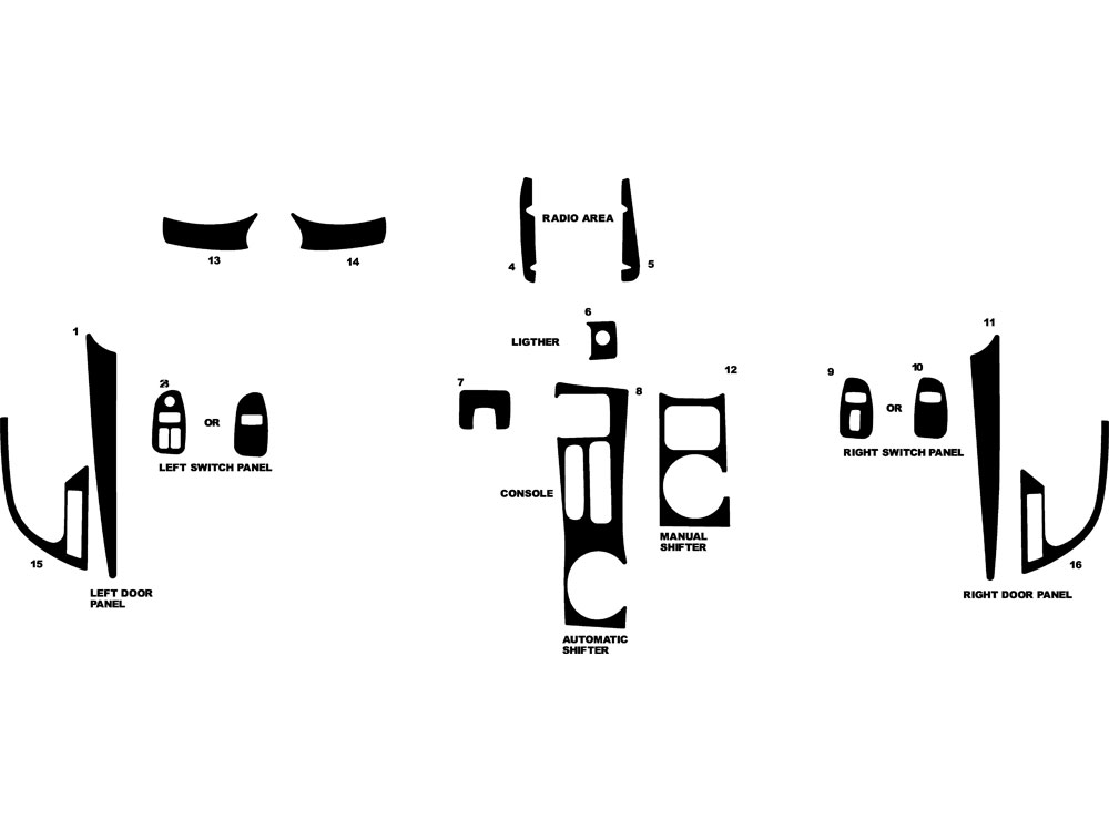 Chevrolet Camaro 1997-2002 Dash Kit Diagram