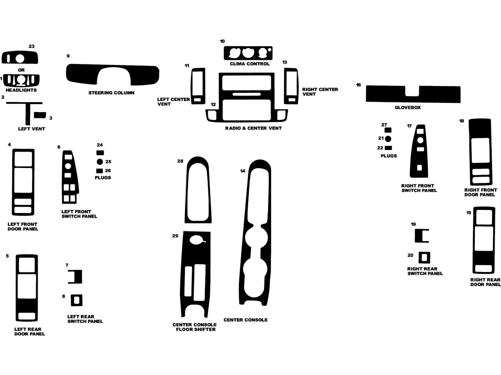 Chevrolet Caprice 1994-1996 Dash Kit Diagram