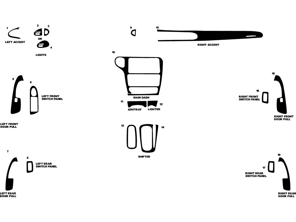 Chevrolet Malibu 1997-2003 Dash Kit Diagram